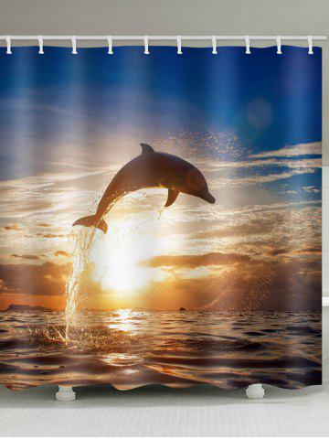 Outfits Sunset Dolphin Printed Waterproof Bath Curtain
