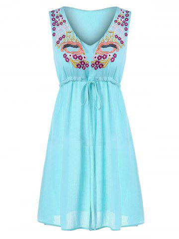 Embroidered Mini Chiffon Dress