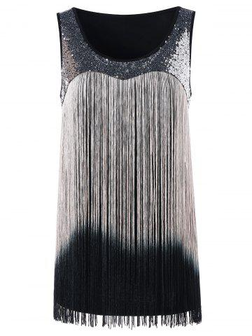 Outfit Sequin Fringed Gradient Tank Top