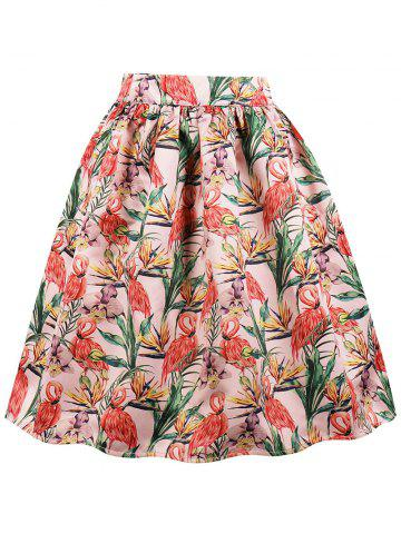 New High Waist Crane Print Midi A Line Skirt