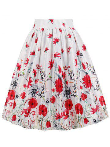Shop High Waist Floral A Line Skirt