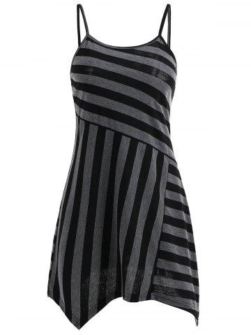 Hot Striped Slip Asymmetrical T-shirt