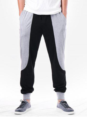 Two Tone Pocket Design Narrow Feet Pants