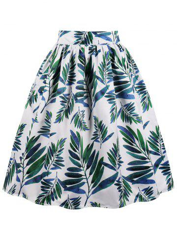 Unique Leaves Print Midi A Line Skirt