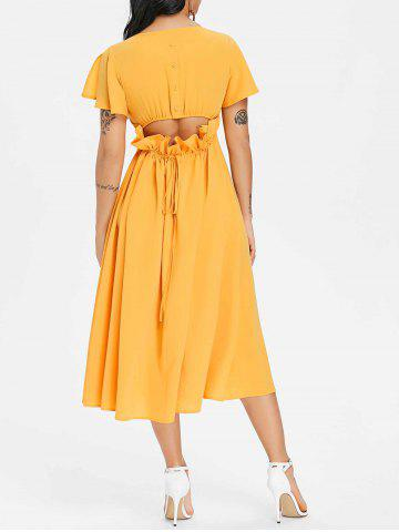 New Button Drawstring Cut Out Chiffon Midi Dress