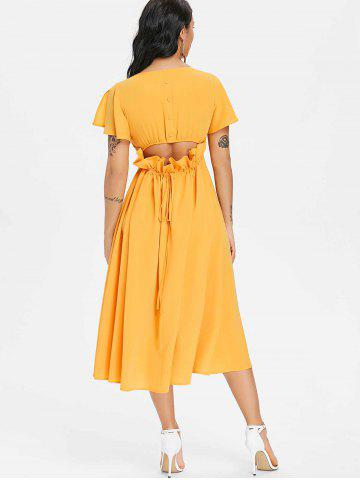 Button Drawstring Cut Out Chiffon Midi Dress
