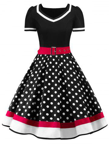 Sweetheart Neck Polka Dot Insert Swing Dress