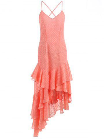 Fancy Deep V Neck Asymmetric Ruffle Midi Dress