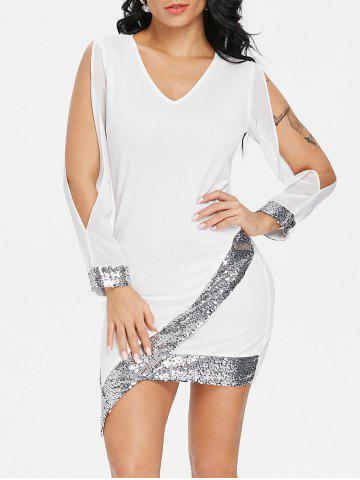 Online Sequin Trimmed Slit Sleeve Chiffon Party Dress