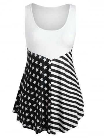 New Plus Size Patriotic American Flag Tank Top