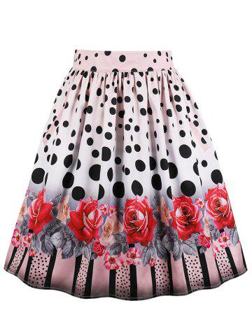 Buy Polka Dot Floral Midi Flare Skirt