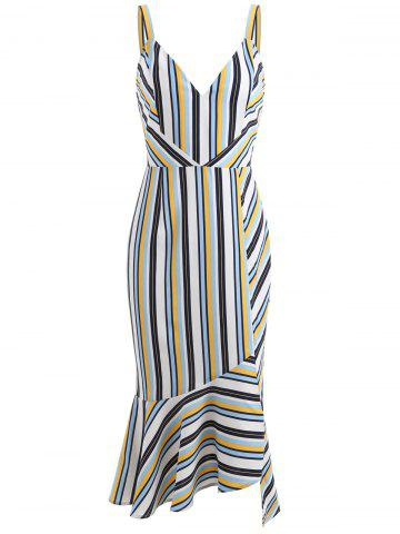 Store Stripe Deep V Neck Ruffle Slip Dress