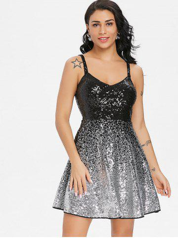 Ombre Spaghetti Strap Sequin Skater Dress