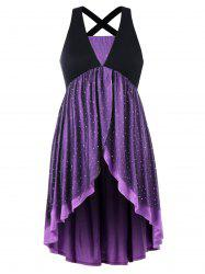 Plus Size Glittery Overlap Sleeveless Dress -