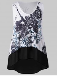 Plus Size Painting High Low Tank Top -
