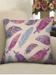 Colorful Feathers Print Linen Sofa Pillowcase -