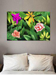 Tropical Jungle Flowers Print Wall Sticker For Bedrooms -