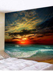 Sunset Sea Wave Printed Tapestry Wall Hanging Decoration -