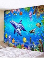 World of Sea Dolphin Seahorse Print Wall Tapestry -