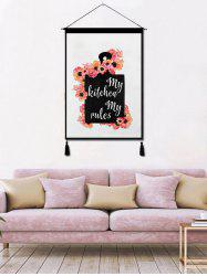 Flower Printed Tassel Wall Hanging Painting -