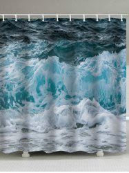 Natural Sea Waves Print Waterproof Shower Curtain -