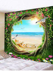 Beach Scenery Through Tree Wall Tapestry -