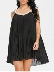 Faux Pearl Pleated Trapeze Mini Dress -