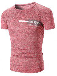 Crew Neck Letter Print Breathable T-shirt -