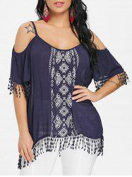 Shoulder Cut Print Blouse -