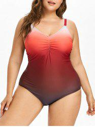 Plus Size Lace Up One Piece Swimsuit -