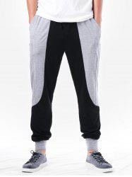 Two Tone Pocket Design Narrow Feet Pants -