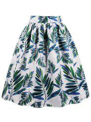 Leaves Print Midi A Line Skirt -