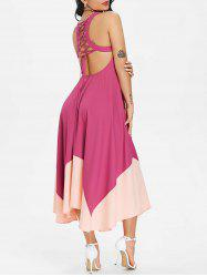 Lace Up Color Block Asymmetric Midi Chiffon Dress -