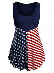 Plus Size Patriotic American Flag Tank Top -