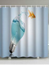 Light Bulb Goldfish Print Waterproof Shower Curtain -