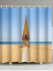 Beach Church Print Waterproof Shower Curtain -