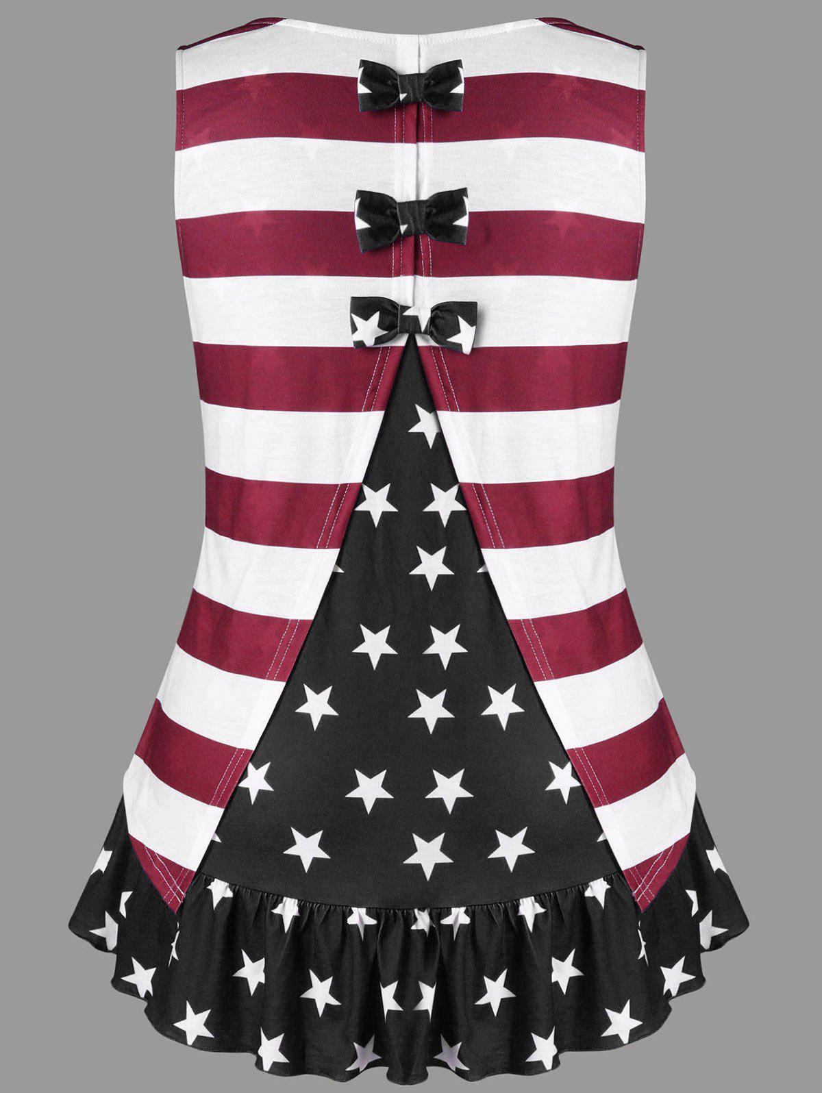 Plus Size American Flag Tank Top with Bowknot