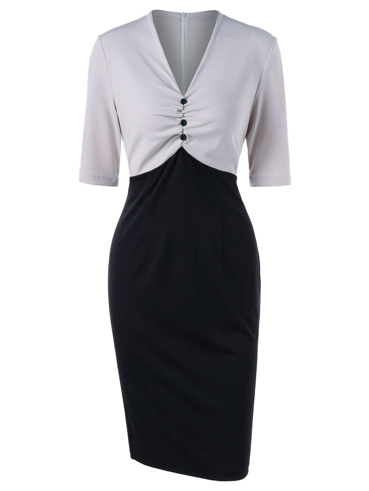 Latest Two Tone Ruched Work Dress