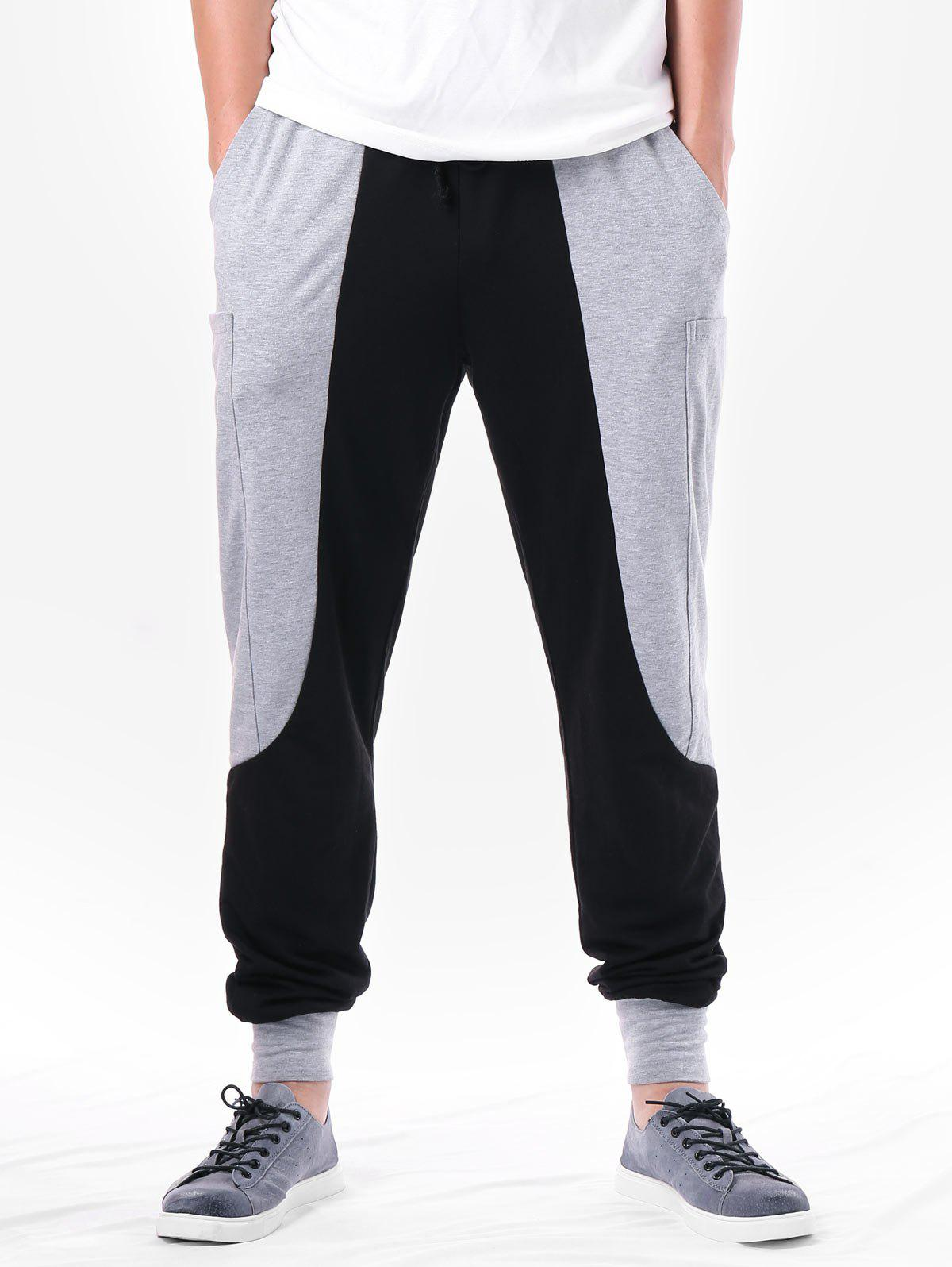 Shop Two Tone Pocket Design Narrow Feet Pants