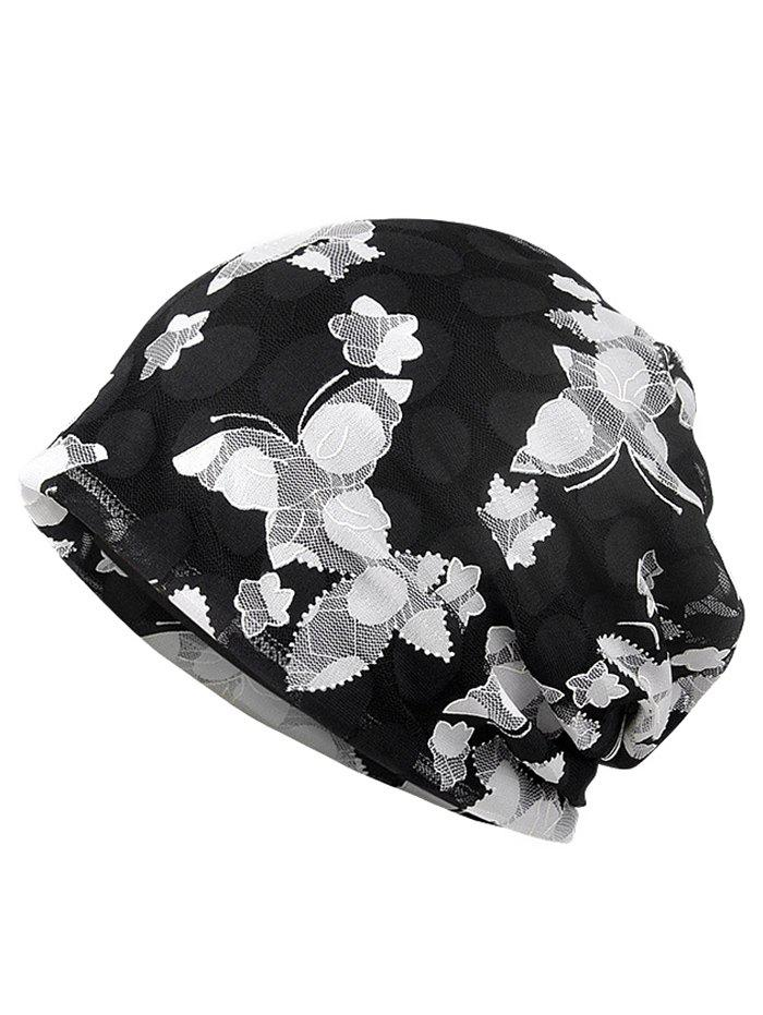 Chic Blooming Floral Pattern Lace Slouchy Beanie