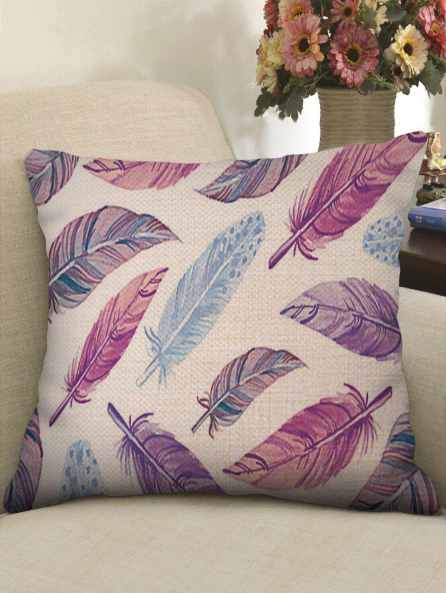 Discount Colorful Feathers Print Linen Sofa Pillowcase