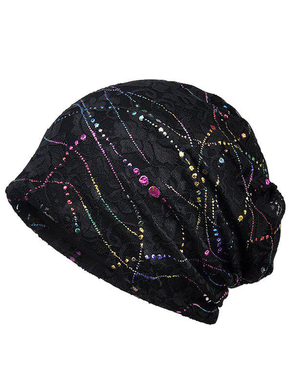 Cheap Shimmer Sequins Lace Slouchy Beanie