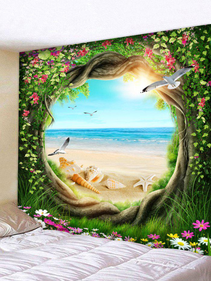 Trendy Beach Scenery Through Tree Wall Tapestry