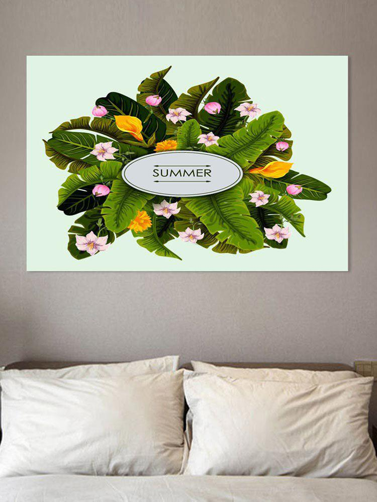Cheap Tropical Leaf and Flower Print Wall Sticker for Bedrooms