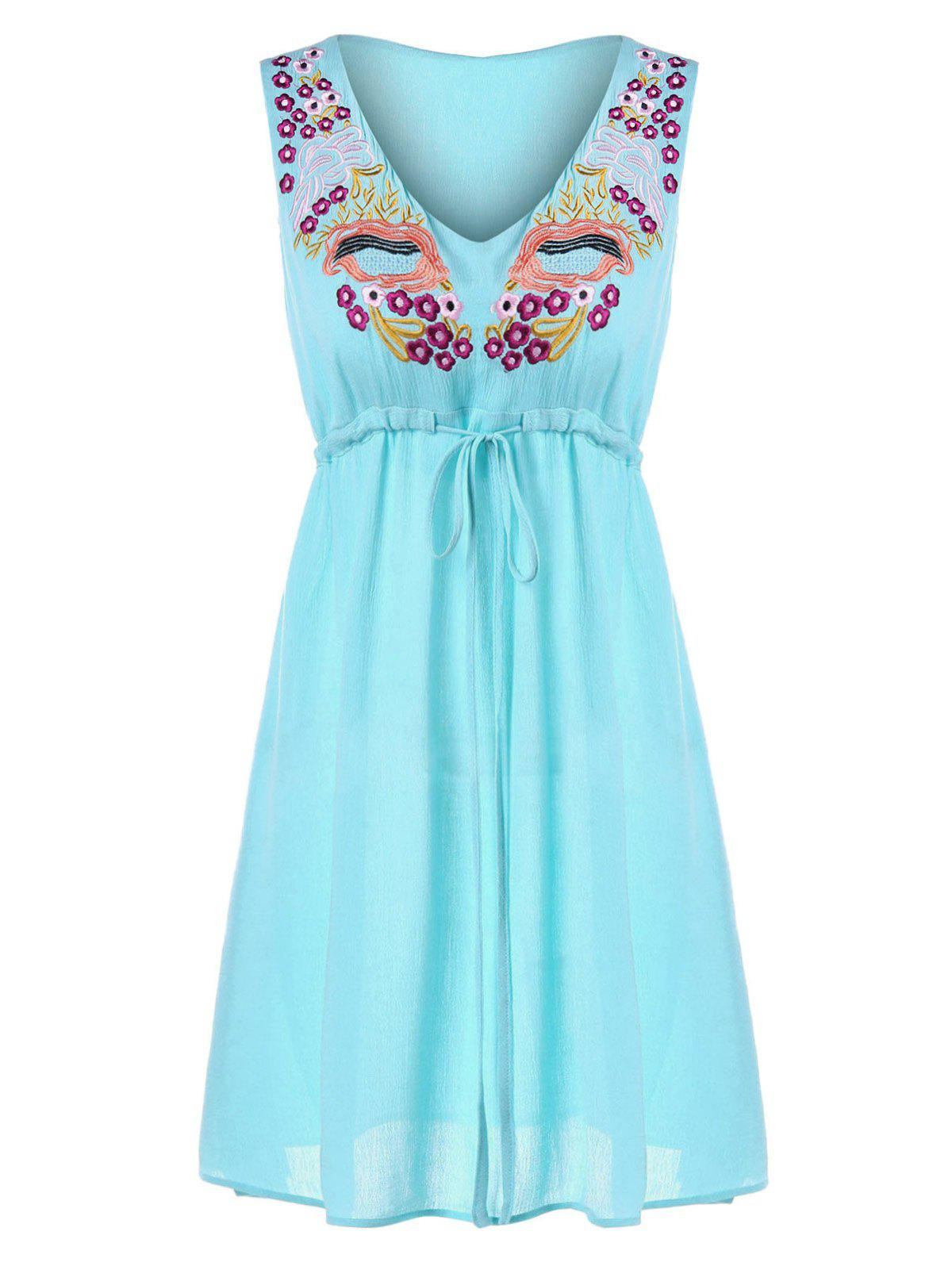 Buy Embroidered Mini Chiffon Dress