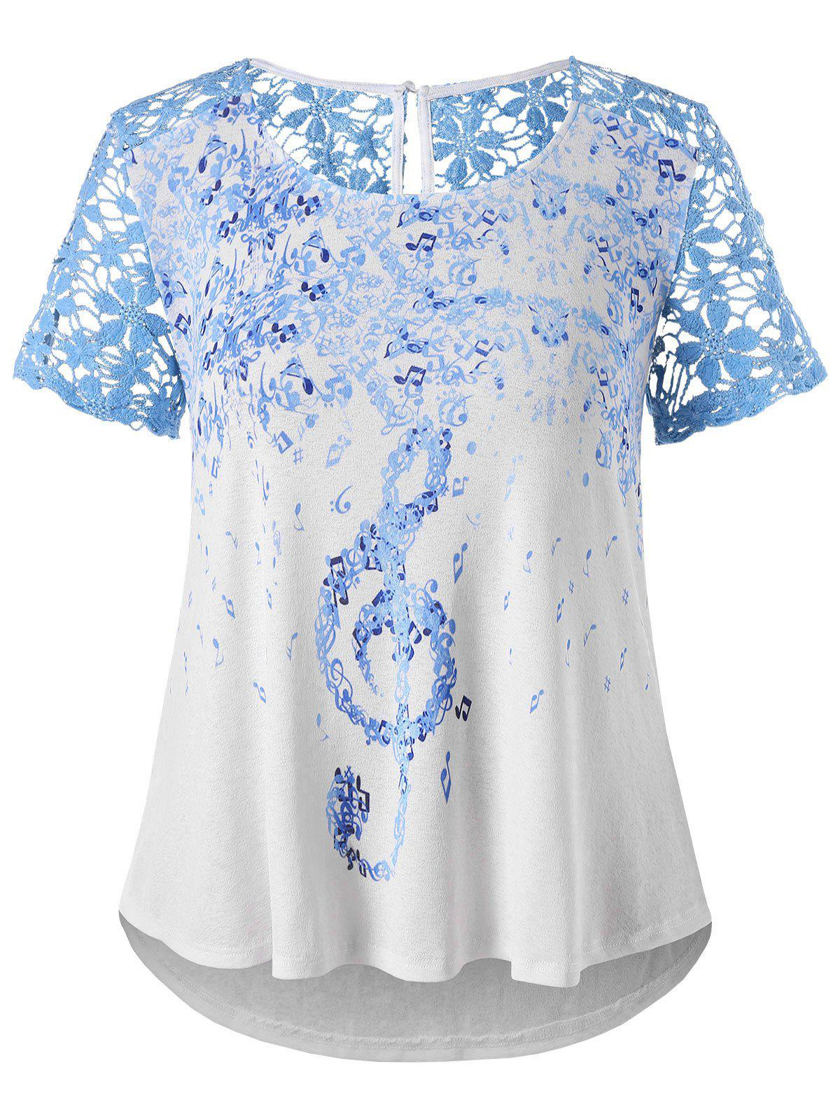 Outfits Plus Size Lace Musical Notes T-shirt
