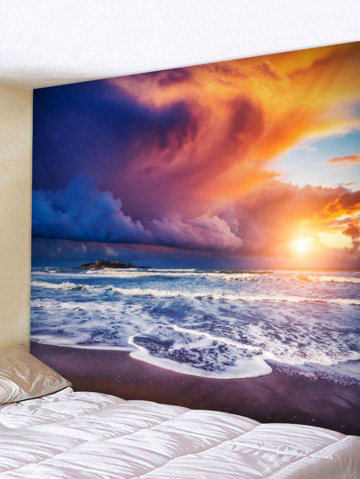Discount Seaside Sunset Waves Printed Wall Art Tapestry