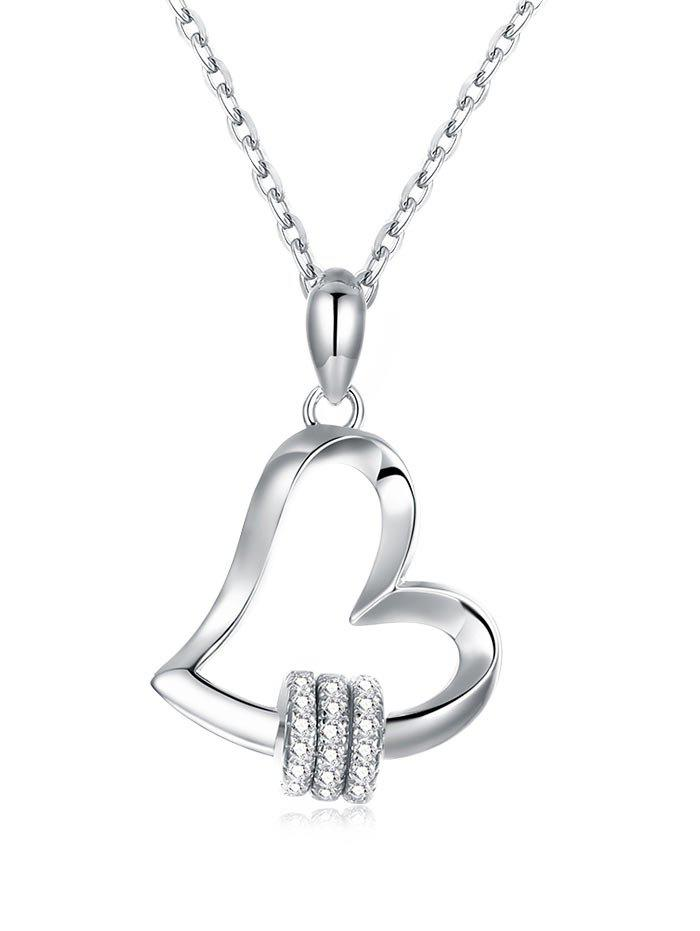 Online Rhinestone Sterling Silver Heart Pendant Necklace
