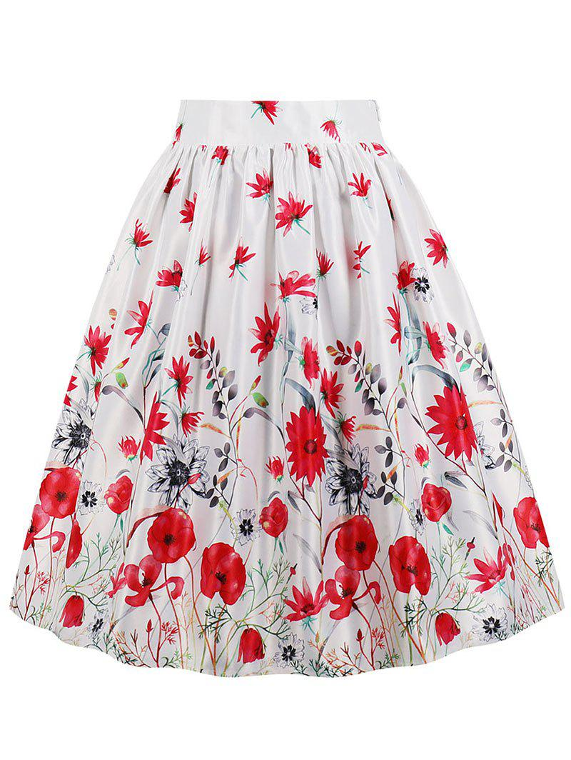 Unique High Waist Floral A Line Skirt