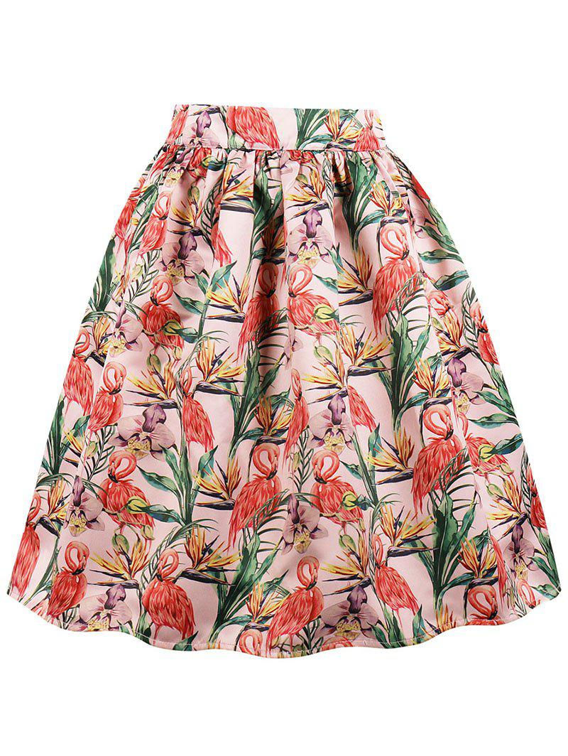 Sale High Waist Crane Print Midi A Line Skirt